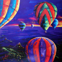 Limited Edition 200 on Paper Balloons over Glasshouse Mountains 540x540 185